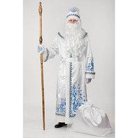 Карнавальный костюм 'Дед Мороз', сатин, аппликация, р. 54-56, рост 188 см, цвет белый