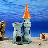 """Декорация для аквариума """"Башня и крепость"""", зеленая, 28 см"""