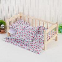 Кукольное постельное 'Земляничка на голубом' простынь 46*36,одеяло,46*36,подушка 23*17