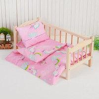 Постельное бельё для кукол 'Единорог на розовом', простынь, одеяло, подушка