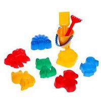 Набор для игры в песке 111 6 формочек для песка, совок, грабли, ведро, МИКС