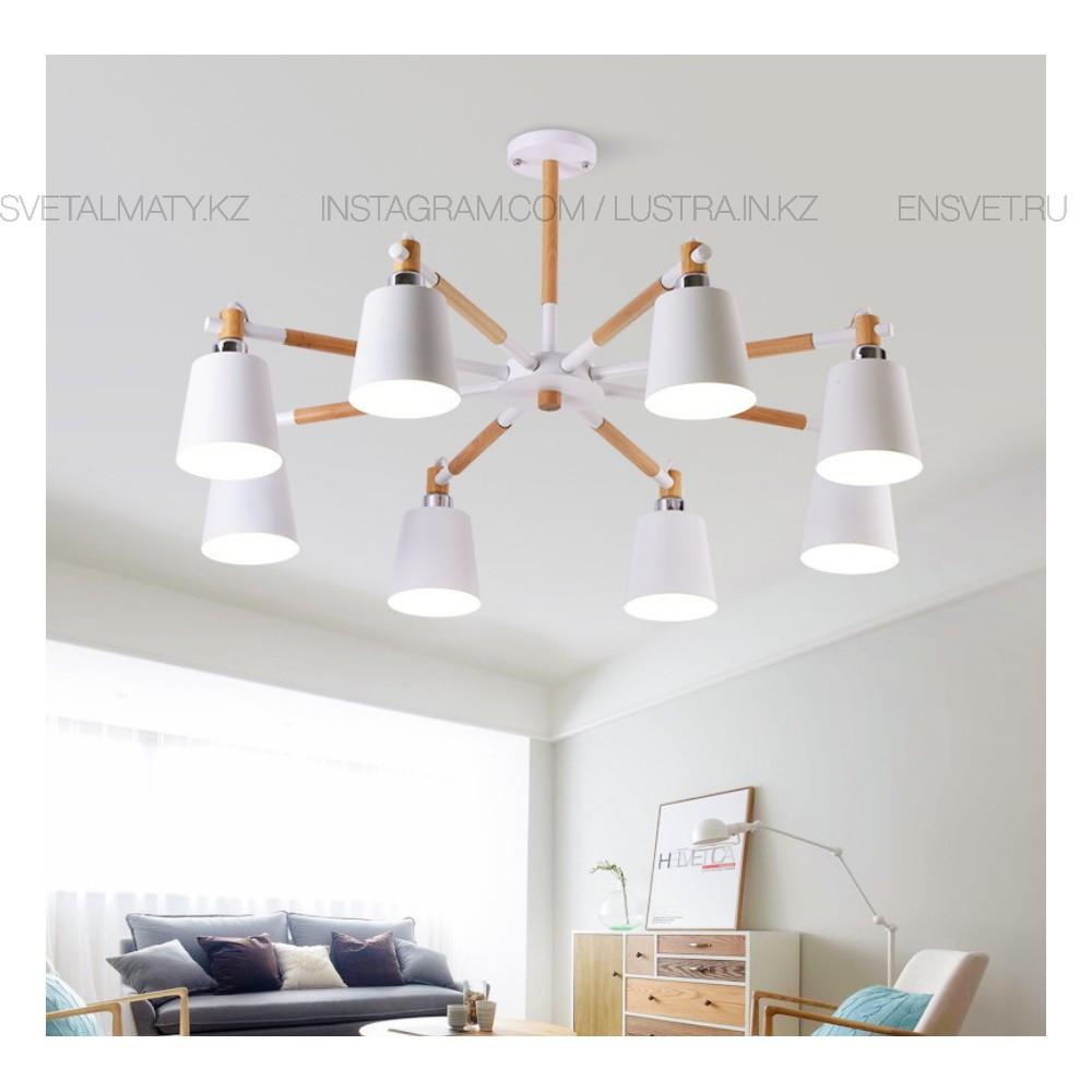 Потолочная Белая люстра в стиле LOFT на 8 ламп