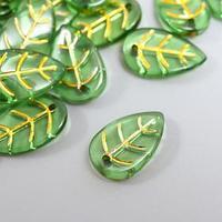 Декор для творчества пластик 'Зелёный лист с золотыми прожилками' набор 25 шт 1,7х1,1х0,3 см 52742