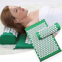 Массажный коврик Акупунктурный Зеленый + подушка 60х40 см Аппликатор Кузнецова игольчатый