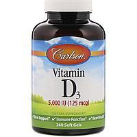 Витамин Д3, Carlson Lab, 5000 IU (125мг), 360 капсул, фото 1