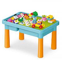 Стол для игры Pituso с конструктором Голубой 56 эл.