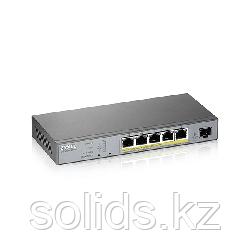 L2 коммутатор PoE+ для IP-видеокамер Zyxel GS1350-6HP 4xGE PoE+ 1xGE PoE++ (802.3bt) 1xSFP 60Вт