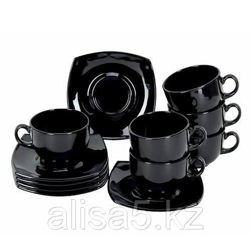 QUADRATO  чайный сервиз черный на 6 персон из 12 предметов (160 мл) , шт