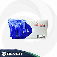Перчатки нитриловые VITA PHARMA синие 200шт/пач L