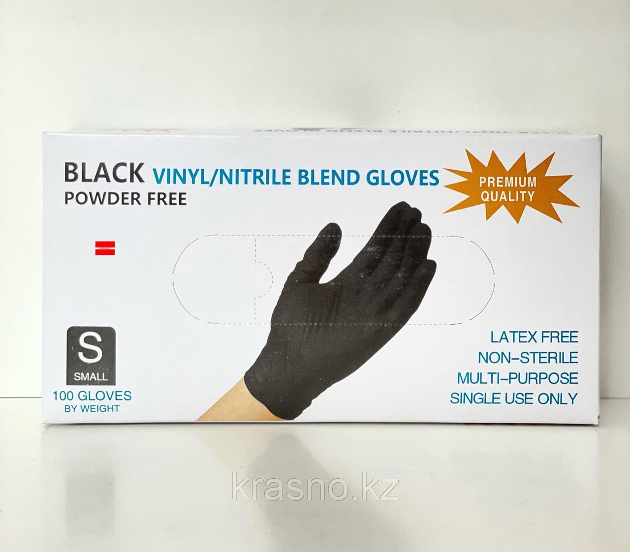 Перчатки S 100шт винило-нитрил Blend Gloves черные - фото 1