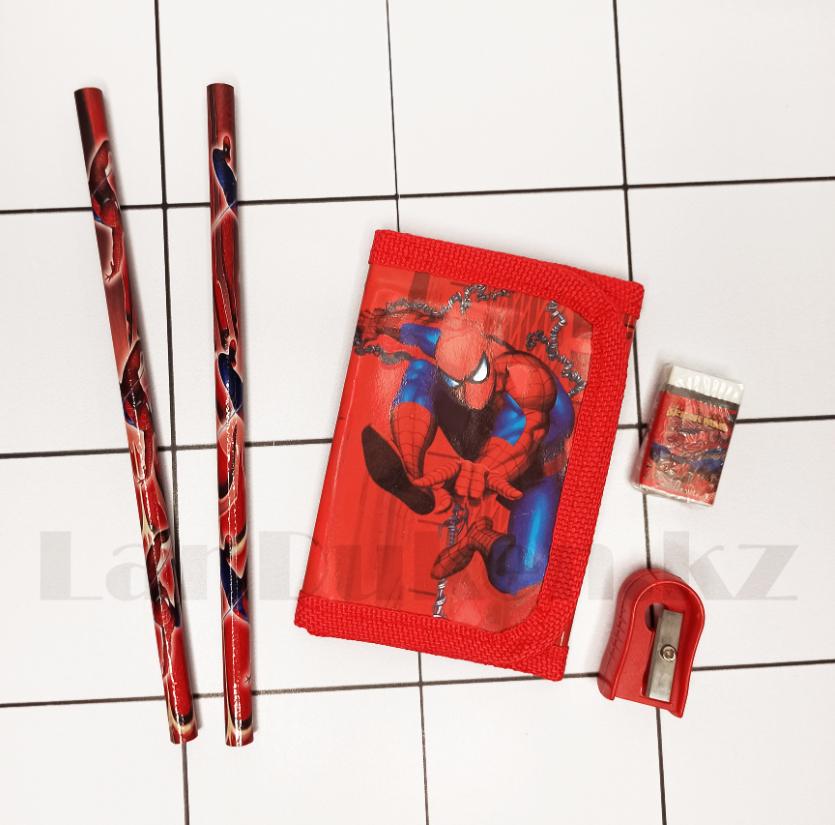 Набор канцтоваров школьный (два простых карандаша, кошелек, ластик, точилка) человек паук - фото 3