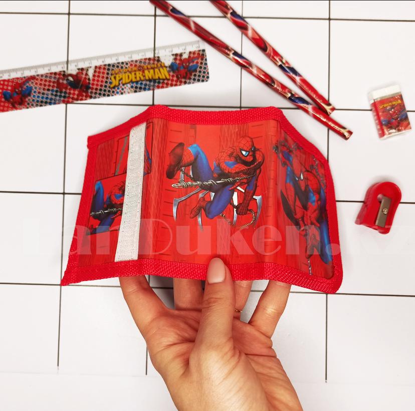 Набор канцтоваров школьный (два простых карандаша, кошелек, ластик, точилка) человек паук - фото 5