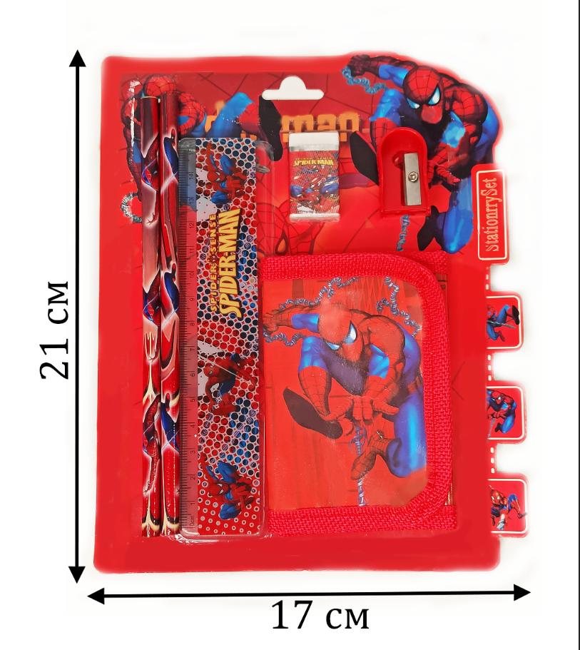Набор канцтоваров школьный (два простых карандаша, кошелек, ластик, точилка) человек паук - фото 2