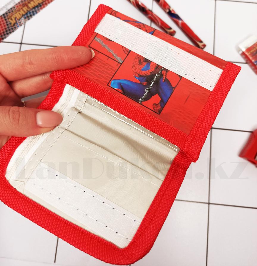 Набор канцтоваров школьный (два простых карандаша, кошелек, ластик, точилка) человек паук - фото 6