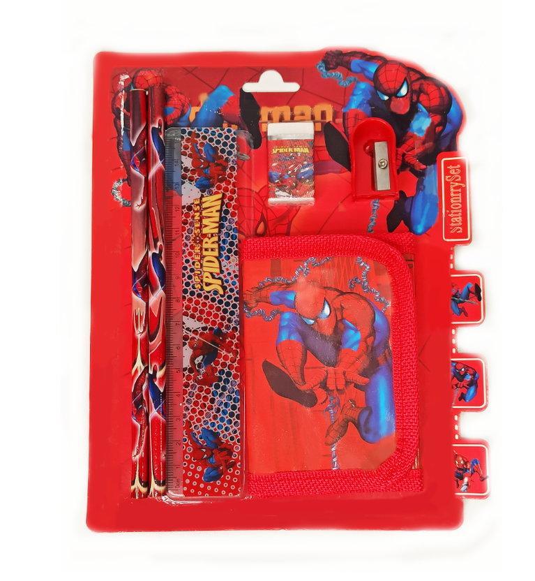 Набор канцтоваров школьный (два простых карандаша, кошелек, ластик, точилка) человек паук - фото 1