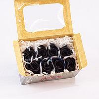 Роза Медиа (черный); 8 бутонов
