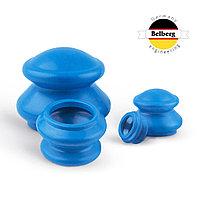 Вакуумные банки Belberg резиновые 4шт MB-02 (синие) (массажные)