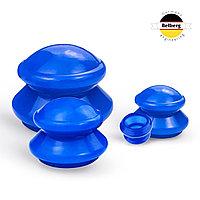 Вакуумные банки Belberg силиконовые 4шт MB-01 (синие) (массажные)