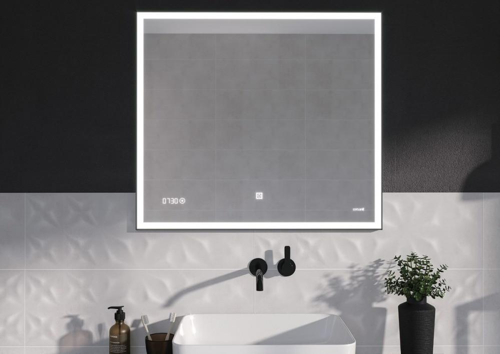 Зеркало Cersanit LED 011 design 100x80 с подсветкой часы металл. рамка прямоугольное (KN-LU-LED011*100-d-Os) - фото 2