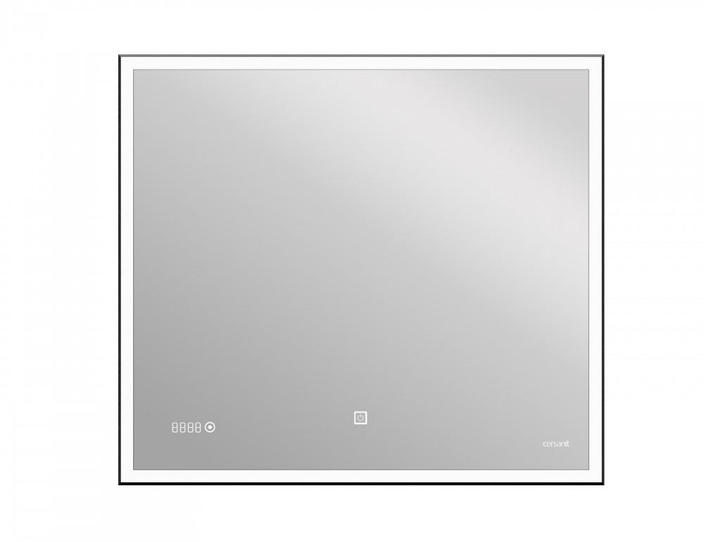Зеркало Cersanit LED 011 design 100x80 с подсветкой часы металл. рамка прямоугольное (KN-LU-LED011*100-d-Os) - фото 1
