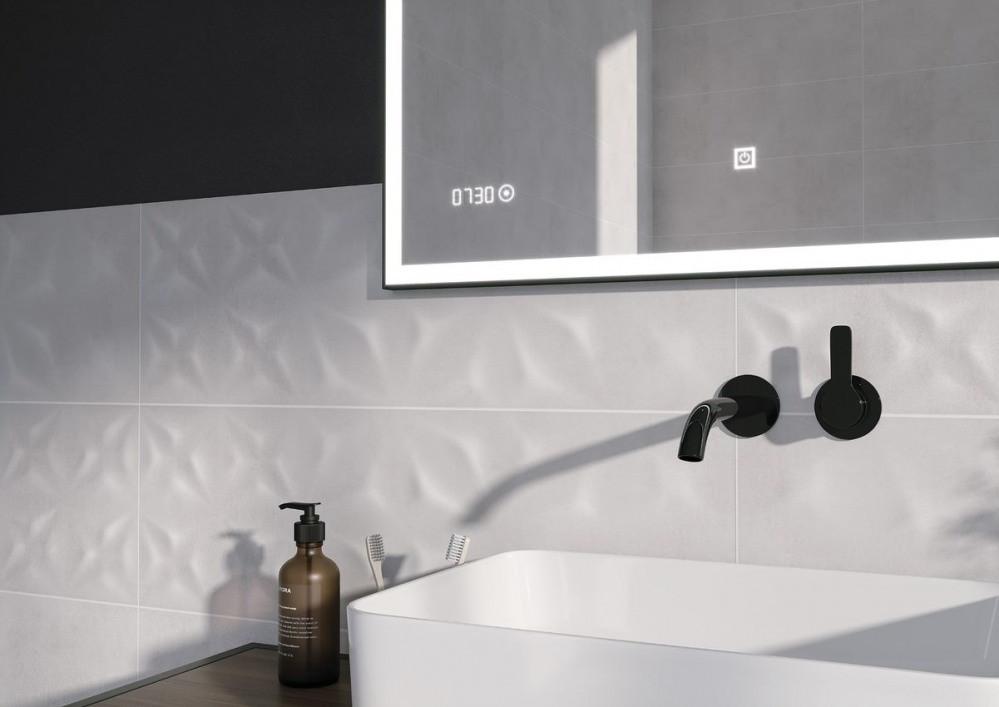 Зеркало Cersanit LED 011 design 100x80 с подсветкой часы металл. рамка прямоугольное (KN-LU-LED011*100-d-Os) - фото 4