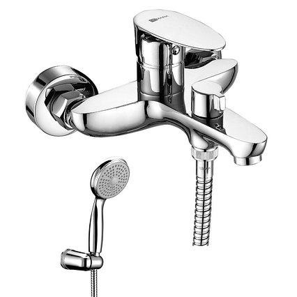 """Смеситель для ванны Lemark, с коротким изливом, дивертор с кер. пласт """"Неро"""" хром LM0214C"""