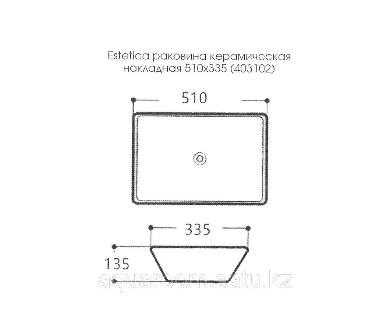 Раковина керамическая Estetica накладная на столешницу 510*335 (403102) - фото 4