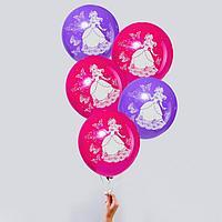 """Шар воздушный 12"""" """"С днём рождения"""", принцесса, набор 5 шт., МИКС"""