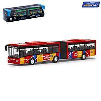 Автобус металлический «Городской транспорт», инерционный, масштаб 1:64, цвет красный