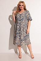 Женское летнее из вискозы бежевое большого размера платье Michel chic 2004 бежевый+синий 48р.