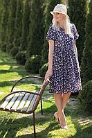 Женское летнее шифоновое синее платье MadameRita 5126 синий 44р.