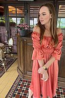 Женское летнее атласное оранжевое платье PUR PUR 947 42р.