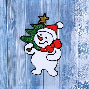 "Наклейка на стекло ""Снеговик с ёлкой"" 9х14,5 см"