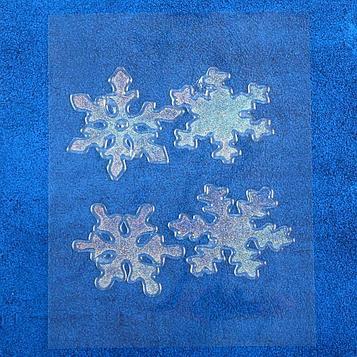 """Наклейка на стекло """"Блестящие снежинки"""" (набор 4 шт) 8х8,5 см"""