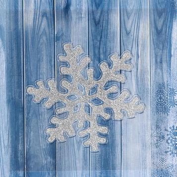 """Наклейка на стекло """"Снежинка серебряный блеск"""" 16х15,5 см"""