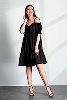 Женское летнее хлопковое черное платье Vladini DR1112 черный 42р.