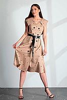Женское летнее хлопковое бежевое платье Vladini DR1179 бежевый 44р.