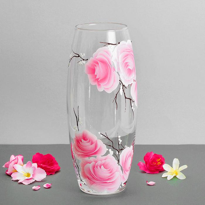 """Ваза """"Цветы персика"""" прозрачная, розовая, d-7,5 см"""