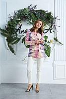 Женский летний большого размера брючный костюм Anastasia 578 сирень,молочный 46р.