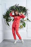 Женский осенний красный большого размера брючный костюм Anastasia 580 лосось 48р.