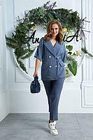Женский летний синий брючный костюм Anastasia 619 джинс 48р.