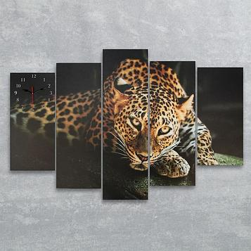 Часы настенные модульные «Леопард», 80 × 140 см