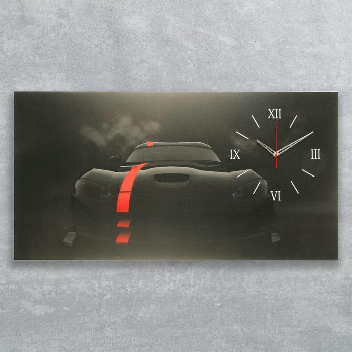 "Часы на холсте ""Чёрный спорткар"", 50х100  см, микс"