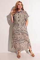 Женское летнее из вискозы бежевое большого размера платье Michel chic 993 беж-коричневый 66р.