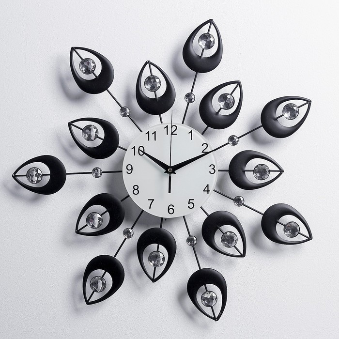 """Часы настенные, серия: Ажур, """"Чёрные лепестки"""", кристаллы, d=50 см микс"""