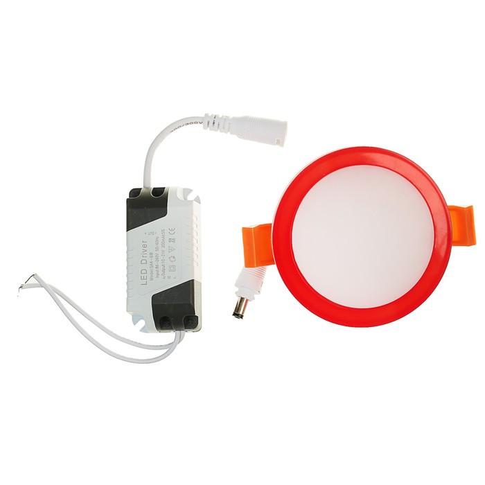 Светильник точечный светодиодный Luazon R-03 круглый, 7 Вт, 4000 К, 220 В, 80 мм, красный