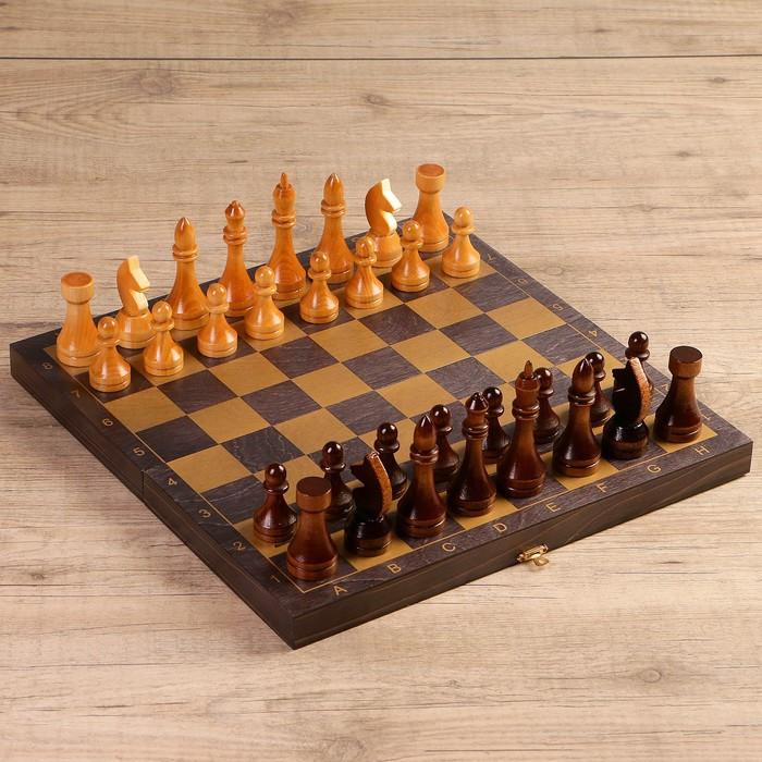 "Шахматы ""Золото"" (доска дерево 40х40 см, фигуры дерево, король h=10.6 см, пешка h=5.7 см)"