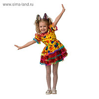 Карнавальный костюм «Хлопушка», сатин, платье, ободок, р. 34, рост 134 см
