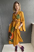 Женское летнее льняное оранжевое платье Pavlova 111 42р.