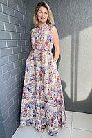 Женское летнее льняное платье Pavlova 006 сирень 42р.
